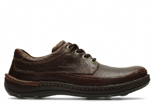Clarks Mens Nature Three Mahogany Leather Shoes